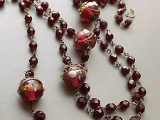 Long red wedding cake necklace ..  glass crystal bead glam flapper jewellery