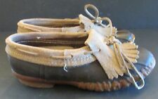 Vintage LL Bean  Suede Fringed Fringe Top Low Gum Shoe Women's Sz 7 B RARE