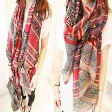 Fashion Womens Print Long Soft Cotton Voile Scarf Wrap Shawl Scarves Stole Red
