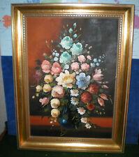 Vintage original Oil on Canvas Still Life FLORAL Flowers Vase FELICITAS VIOLET