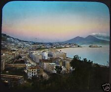 Glass Magic Lantern Slide NAPLES FROM VIRGILS TOMB C1890 PHOTO ITALY NAPOLI