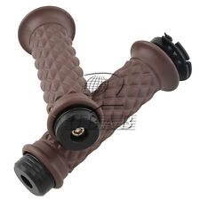 "Motorcycle Brown Hand Grip Throttle Handlebar 7/8"" 22mm Chopper Bobber & Bar End"