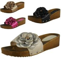NEW WOMENS LADIES SLIP ON FLOWER MULES LOW HEEL SANDAL WEDGES SHOE SLIPPERS SIZE