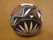 Native American Acoma Indian Pottery Hand Painted Seed Pot by N. Victorino