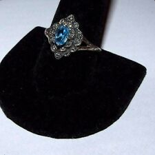 ANTIQUE ART DECO STERLING SILVER, MARCASITES & BLUE FACETED STONE RING. SIZE U.