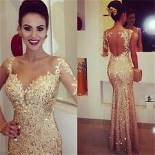 2016 Sequined Applique Long Sheer Mermaid Formal Pageant Gown Evening Prom Dress