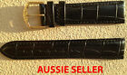 AUSSIE SELLER BLACK 20MM LEATHER BAND STYLE STITCHED PADDED WATCH BAND