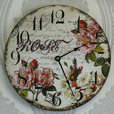 Wall Clock Wooden Floral Vintage Style Shabby Chic Kitchen Rose French Decor