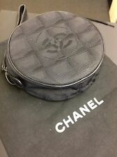 Authentic Chanel Vintage Wristlet Purse Black Canvas & Leather. Ex Cond. Dustbag