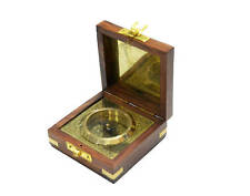Brass Compass Fitted In Wooden Box Maritime Vintage Décor Gift Compass Anno-1404