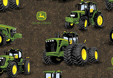 JOHN DEERE TRACTOR PROVEN POWER  FARM SPRING CREATIVE 100% COTTON FABRIC YARDAGE