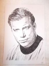 A4 Charcoal Sketch Drawing William Shatner as Star Trek Captain James T Kirk