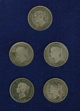 CANADA  VICTORIA  1886, 1890-H, 1891,1899, 1900 5 CENTS SILVER COINS, LOT OF (5)