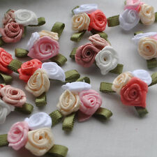 20pcs Mix Satin Ribbon Flowers Bows Rose W/leaf  Appliques 25x15mm RB150