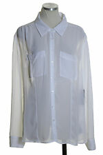 NWT GUESS White Pockets Point-Collar Sheer Button Down Shirt Blouse Top Size XL