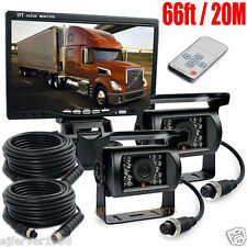 "Car Rear View 7"" LCD 4pin Monitor+2 CCD IR Reversing Backup Camera RV Truck Kit"