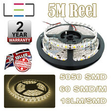 5M 24V Warm White LED Strip Light 5050 300SMD 16Lm / SMD 60SMD / M Bright Impermeabile