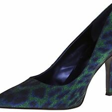 Nine West Flax Blue Green Sparkle Animal Classics Heal Pointy Toe Pump 8 M USA