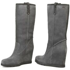 UGG SOLEIL GRAY LODGE SUEDE / SHEEPSKIN WEDGE BOOTS SZ 11 NEW IN BOX $225