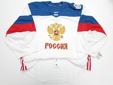 RUSSIA WHITE 2016 WORLD CUP OF HOCKEY TEAM ISSUED ADIDAS JERSEY GOALIE CUT 60