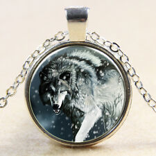 Wolf and Snow Cabochon Glass silver necklace for women men Jewelry