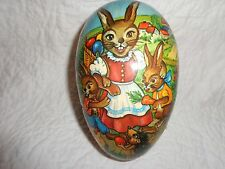 """Uncommon Motif Vintage German Paper Mache Easter Egg Candy Container, 6"""" Long"""