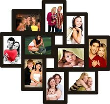 Trendzy Wooden 10-in-1 Collage Wall Photo Frame (55cm x 1.1cm x 58.3cm, Black)