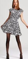 $368 Alice + Olivia NEW Matilda B/W Lined Silk Cocktail Dress  NWT   XS