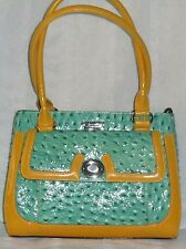 SERENADE GENUINE LEATHER HAND BAG new tag green-mustard colour silver hardware