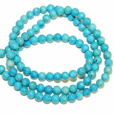 GR540f Turquoise Blue 4mm Round Gemstone Coral Fossil Riverstone Beads 16""