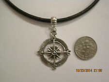 Black Leather Cord Choker Necklace with wind rose charm adjustable lobster clasp