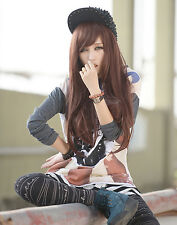 Fashion Women's New Long Straight Cosplay Anime Full Wig Brown +Wig Cap