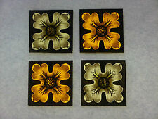 Beautiful Stained glass. FLOWERS.Hand painted .Kiln fired. 75 x 75 mm, New.4 p-s