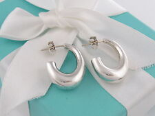Auth Tiffany & Co Silver J Hoop Earrings Box Included