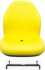 John Deere Yellow Vinyl Mower Seat W/Bracket Fits  240 245 335D 335 SST16 ETC