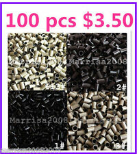 100 X COPPER TUBE MICRO RINGS /BEADS 3.5MM FOR HAIR EXTENSIONS