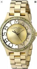 NEW MARC JACOBS MBM3338 STAINLESS YELLOW GOLD TONE SKELETON VIEW WOMEN'S WATCH