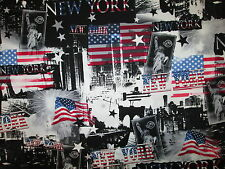 NYC NEW YORK CITY LANDMARKS FLAG COTTON FABRIC FQ