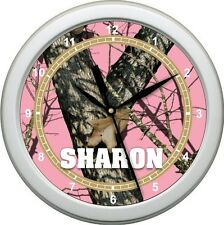 Personalized Lady's Pink Mossy Oak Wall Clock  Camo Gift