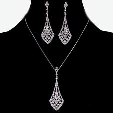 CZ Pendant Necklace Set Bridal Art Deco Bali Filigree Rhodium Silver Brilliant