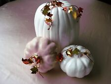 NEW Made in USA 3 pc Ceramic Elegant Pumpkin Decor  Pastel Satin Glazes