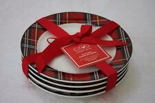 CIROA PLAID TARTAN APPETIZER DESSERT PLATES-RED GOLD BLACK WHITE-NEW-SET OF 4