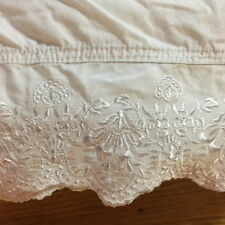 SIMPLY SHABBY CHIC Queen Flat Sheet WOODROSE/White Embroidered Rachel ASHWELL