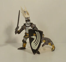 "2007 Medieval Black & Gold Swan Banner Knight 4.5"" PVC Action Figure Papo"