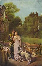 Liebespaar und Hund, Berhardiner, alte Ansichtskarte um 1910