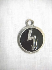 MARILYN MANSON ROUND BLACK INLAY w LIGHTNING BOLT PEWTER PENDANT ADJ NECKLACE