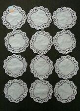 """VINTAGE BATTENBURG LACE Doilies 100% Cotton 8"""" X 8"""" Round - 1 Dozen"""