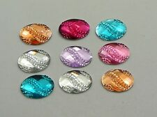 200 Mixed Color Acrylic Flatback Oval with Dotted Wave Rhinestone Gems 13X10mm