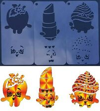 SHOPKINS SET of 3pcs APPLE LIPPY LIPS CUPCAKE QUEEN Kids Party Airbrush Stencil