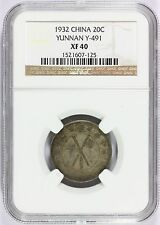 1932 China Yunnan 20 Cents Silver Coin - Y# 491 - NGC XF 40 Graded